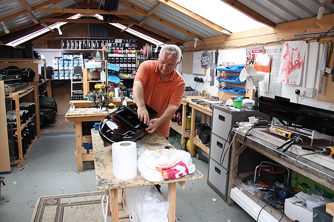Mike in action building bait boats